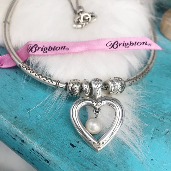 Brighton Sorority Pearl Heart Collar Necklace RARE